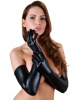 Černé lesklé rukavice, extra dlouhé