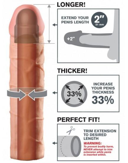 Návlek na penis - realistický (zvětší o 5,1 cm)