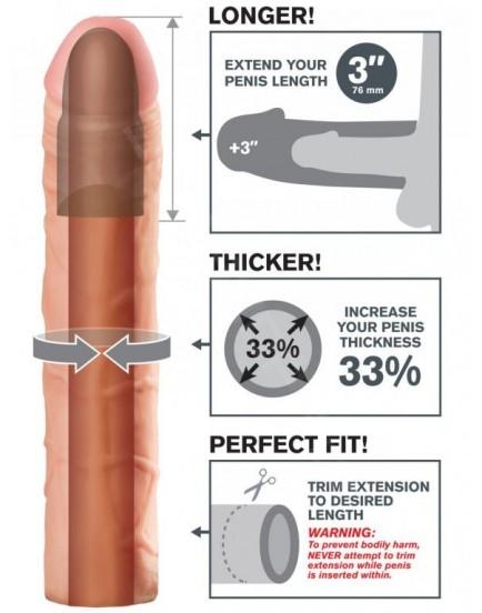 Návlek na penis - realistický (zvětší o 7,6 cm)