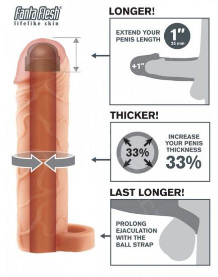 Návlek na penis s poutkem na varlata - realistický (zvětší o 2,5 cm)