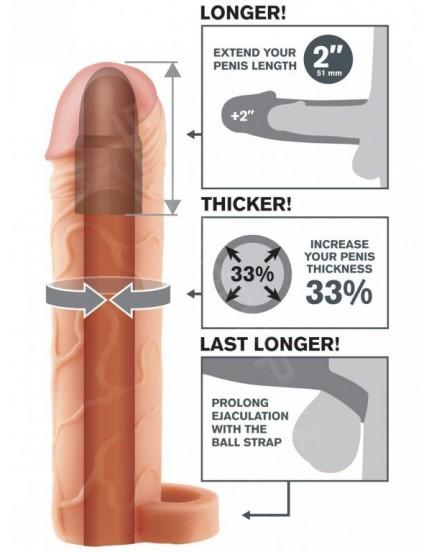 Návlek na penis s poutkem na varlata - realistický (zvětší o 5,1 cm)