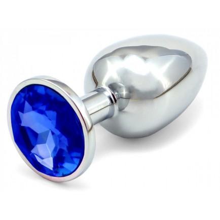 Anální kovový kolík s krystalem - tmavě modrý