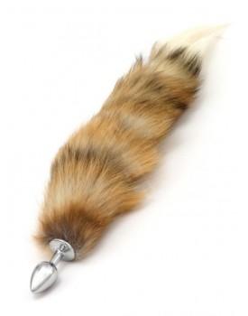 Kovový anální kolík s ocáskem (liška), hnědý