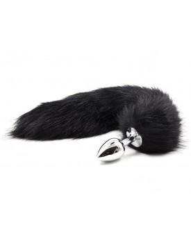 Kovový anální kolík s ocáskem (liška), černý