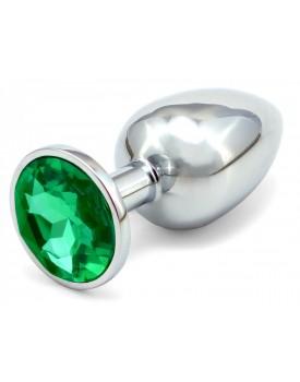 Anální kovový kolík s krystalem - tmavě zelený