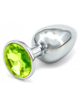 Anální kovový kolík s krystalem - světle zelený