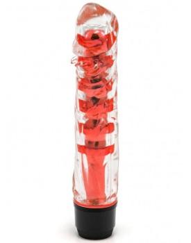 Vibrátor - transparentní, červený (17,5 cm)