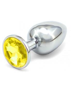 Anální kovový kolík s krystalem - žlutý