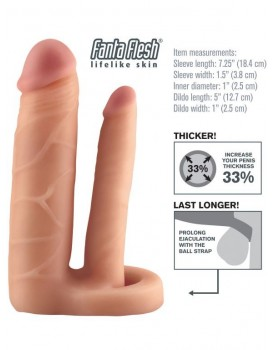Návlek na penis Double Trouble Extension s análním dildem, prodlouží o 2,5 cm