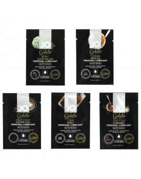 Ochutnávkový balíček lubrikačních gelů System JO Gelato (mix příchutí), 5 x 3 ml