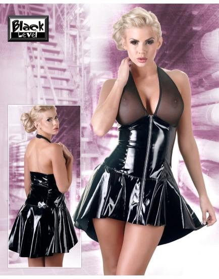 Lakované minišaty s asymetrickou sukní a průhledným topem Black Level