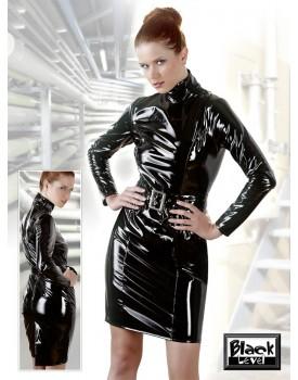 Lakované šaty s dlouhými rukávy a páskem Black Level