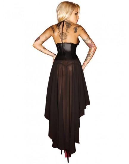 Korzetové šaty s dlouhou asymetrickou sukní - NOIR
