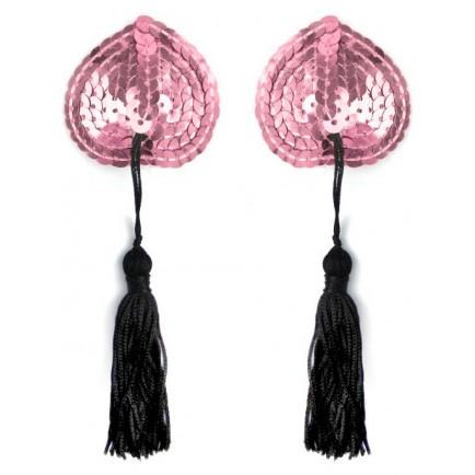 Samolepicí srdíčka na bradavky se střapci - růžová (1 pár)