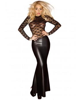 Lesklé šaty - dlouhé s krajkovým topem