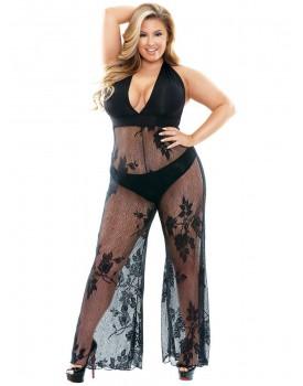 Catsuit Nicki - s hlubokým výstřihem a širokými nohavicemi (PLUS SIZE)