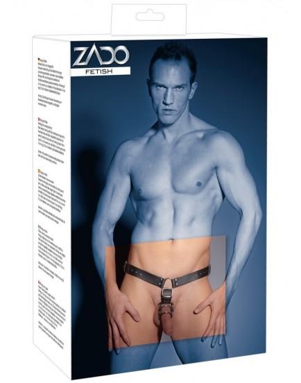 Pánská kožená tanga od ZADO - s análním dildem a kroužky na penis