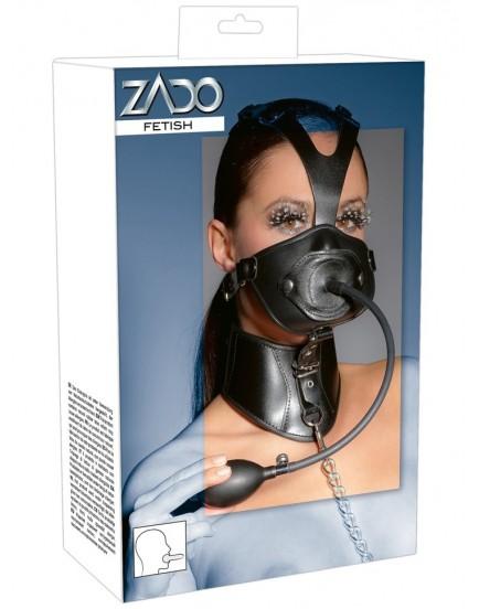 Kožený postroj na hlavu a krk od ZADO - s nafukovacím roubíkem a vodítkem