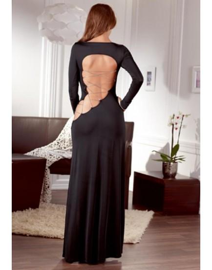 Dlouhé šaty s odhalenými zády a ozdobným šněrováním