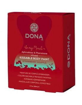 Slíbatelný bodypainting s afrodiziaky a feromony DONA - jahodové soufflé