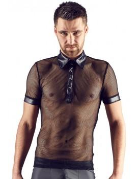 Síťované pánské tričko s límečkem, krátkými rukávy