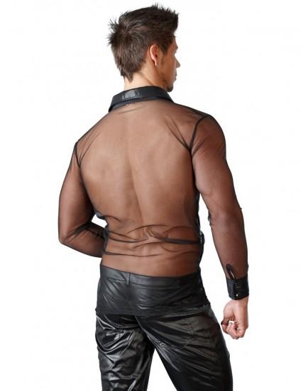 Průsvitná pánská košile s dlouhými rukávy a lesklými detaily