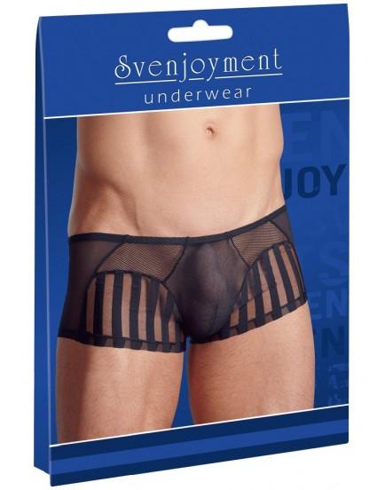 Průsvitné pánské boxerky s proužky a síťovanými vsadkami