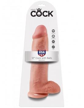 "Realistické dildo s varlaty King Cock 12"" - Pipedream"