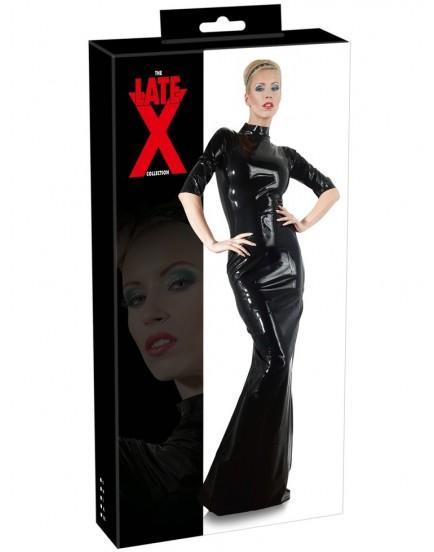 Dlouhé latexové šaty s krátkými rukávy - LateX