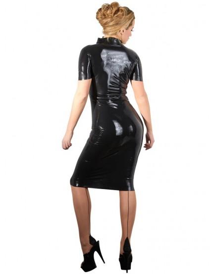 Latexové šaty s dvoucestným zipem - LateX