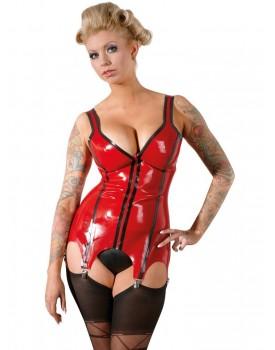 Červený latexový top s podvazky a zipem - Latex
