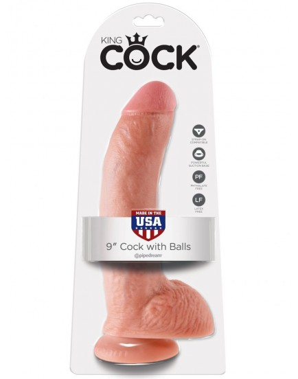 "Realistické dildo s varlaty King Cock 9"" - Pipedream"