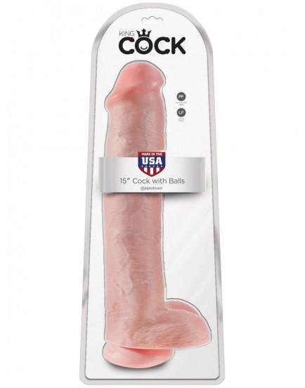 "Realistické dildo s varlaty King Cock 15"" - Pipedream"