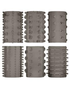 Elastické návleky na penis, kouřově šedé (6 ks)