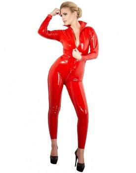 Latexový catsuit se dvěma zipy, červený - LateX