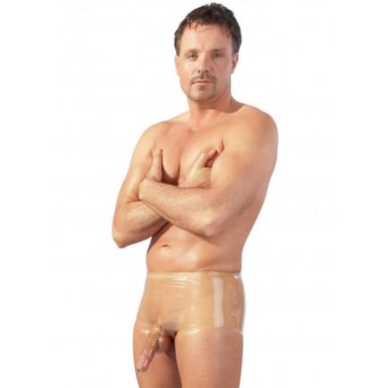 Latexové boxerky s kapsou na penis a varlata, transparentní - LateX