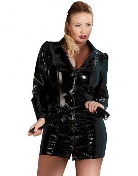 Lakovaný kabát/šaty s páskem (PLUS SIZE)