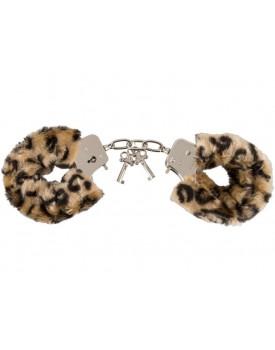 Plyšová pouta Love Cuffs s motívem leopardí kůže