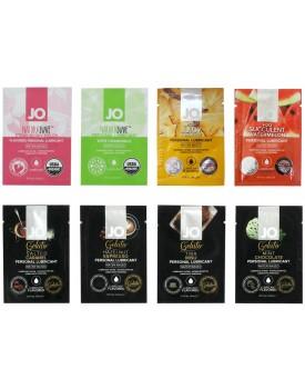 Balíček lubrikačních gelů System JO - mix příchutí, 8 x 3 ml