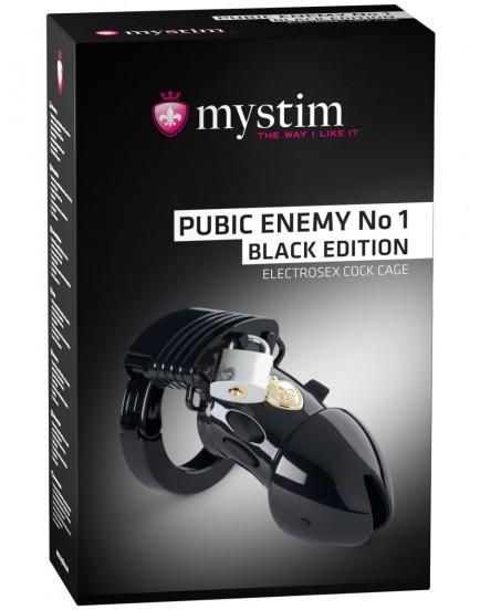 Klícka na penis MYSTIM Pubic Enemy No 1 Black Edition, elektrosex