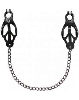 Clover svorky na bradavky s řetízkem (černé)