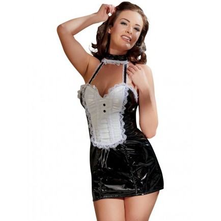 Lakovaný kostým Servírka (černo-bílé minišaty s krajkou)