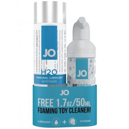 Lubrikační gel System JO H2O + čisticí pěna na erotické pomůcky ZDARMA, 120 ml + 50 ml