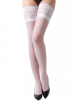 Bílé samodržící punčochy s širokým krajkovým lemem