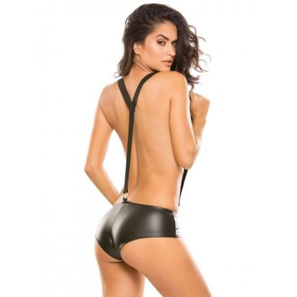 Lesklé bokové kalhotky a kšandy Second Skin - Allure