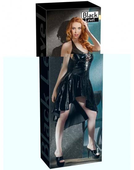 Lakované šaty se šněrováním a asymetrickou sukní - Black Level