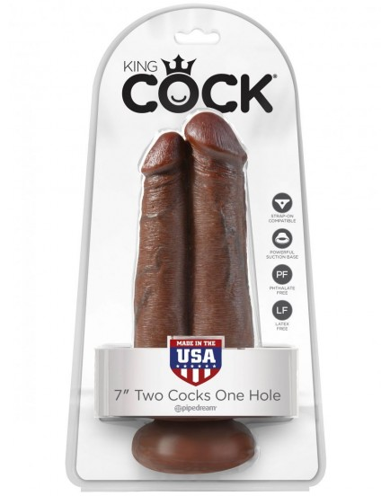 """Realistické dildo King Cock Two Cocks One Hole 7"""" (Pipedream)"""