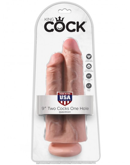 """Realistické dildo King Cock Two Cocks One Hole 9"""" (Pipedream)"""