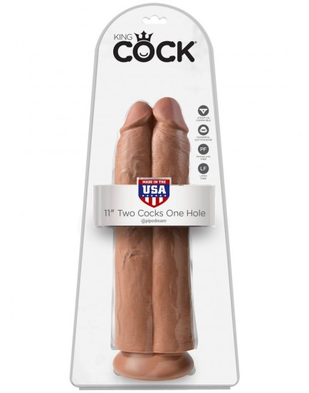 """Realistické dildo King Cock Two Cocks One Hole 11"""" (Pipedream)"""