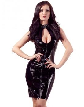 Lakované šaty s límečkem, odhaleným dekoltem a šněrováním - Black Level